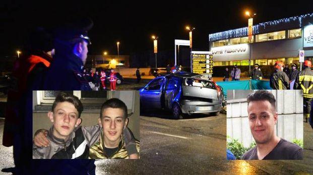 Incidente a Saronno, le tre vittime (da snx): Matteo, Alessandro e Davide (foto Newpress)
