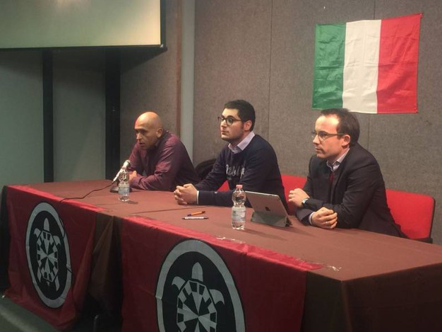 Andrea Lamona, Michele Iozzino e Filippo Burla, autore del libro che viene presentato