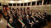 Le autorità al teatro dell'Aquila (foto Zeppilli)