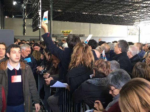 Caos all'assemblea della nuova lista unitaria di Pietro Grasso (foto Moretto)