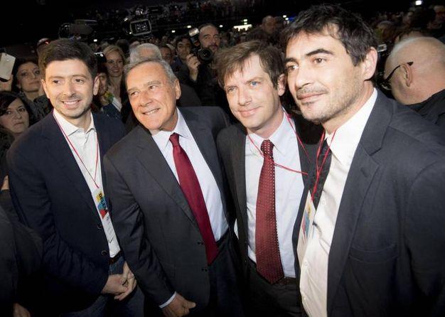 Foto di gruppo: Speranza, Grasso, Civati e Fratoianni (Ansa)