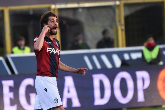 Le urla di Poli sul gol del Cagliari poi annullato (foto Schicchi)
