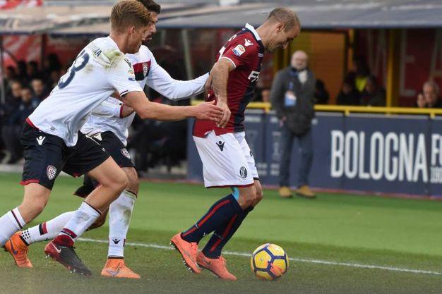 I giocatori del Cagliari provano a fermare Palacio (foto Schicchi)