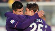 Fiorentina- Sassuolo; esultanza per il primo gol della squadra di Puioli a firma di Simeone (Foto Germogli)