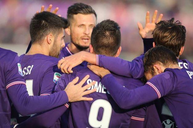 Fiorentina- Sassuolo; esultanza dopo il gol di Simeone (Foto Germogli)