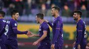 Fiorentina-Sassuolo, esultanza di Veretout: suo il secondo gol (Foto Germogli)