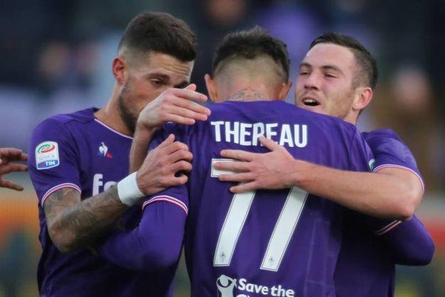 Fiorentina-Sassuolo, esultanza di Veretout (Foto Germogli)