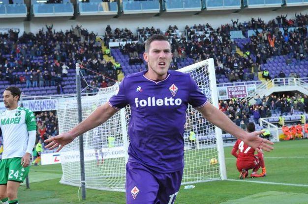 Fiorentina-Sassuolo, esultanza di Veretout dopo il gol(Foto Germogli)