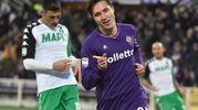 Il terzo gol della Fiorentina: su assist di Thereau, Chiesa va in gol (foto Ansa)