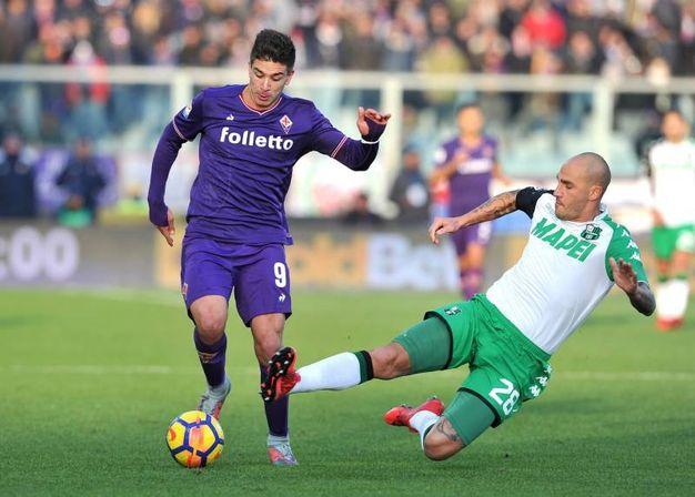 Cannavaro prova a contrastare Simeone (foto LaPresse)