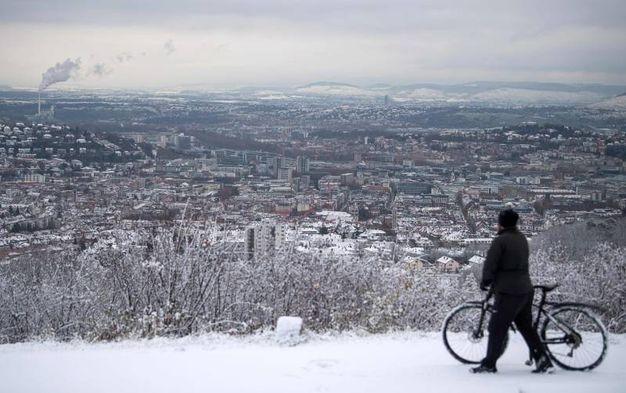 Veduta di Stuttgart innevata (AFP)