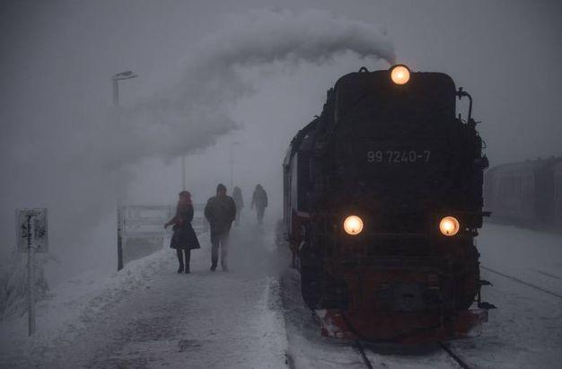 La stazione di Brocken coperta di neve (AFP)