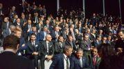 Il premier Gentiloni parla con il governatore Bonaccini. Al suo fianco anche il ministro Galletti