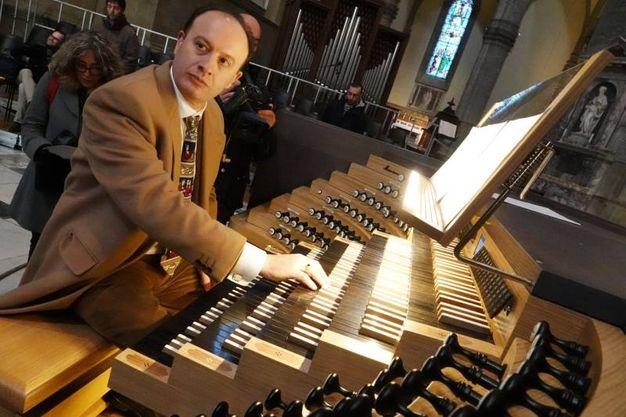 Restauro e ampliamento dell'organo della Cattedrale del Duomo di Firenze; nella foto Michele Manganelli (Pressphoto)