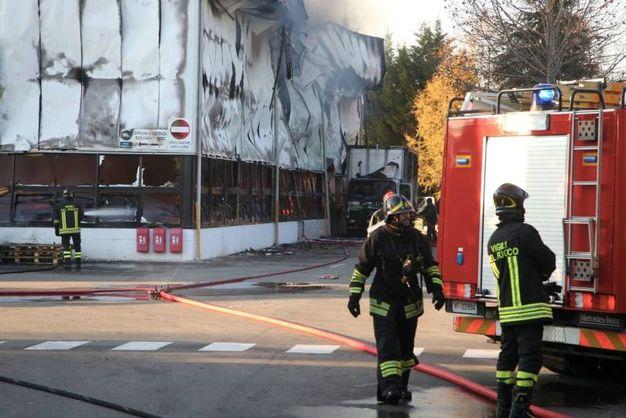 L'incendio sviluppatosi al Grillo di via Cervese (foto Ravaglia)
