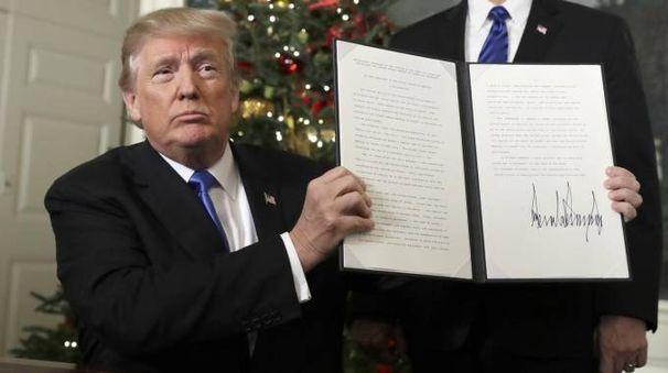 Gerusalemme capitale d'Israele, l'annuncio di Trump (foto Ansa)