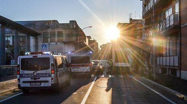 Municipale e ambulanza sul luogo dell'incidente (Fotoprint)