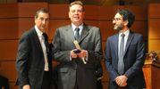 Il sindaco Giuseppe Sala con Lamberto Bertole e Vladimiro Poggi, giornalista