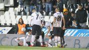 L'esultanza di Moncini per il gol del 3-2 (foto Ravaglia)