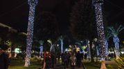 Poste nei giardini di piazza XX Settembre e dalla forma quantomeno equivoca, le luminarie hanno già fatto scandalo (Foto De Marco Palombi)