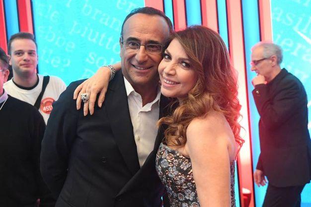 Cristina D'Avena e Carlo Conti nel doppio ruolo di giudice e direttore artistico della trasmissione (foto Schicchi)