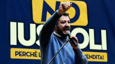 Roma, Salvini alla manifestazione contro lo Ius Soli (Lapresse)