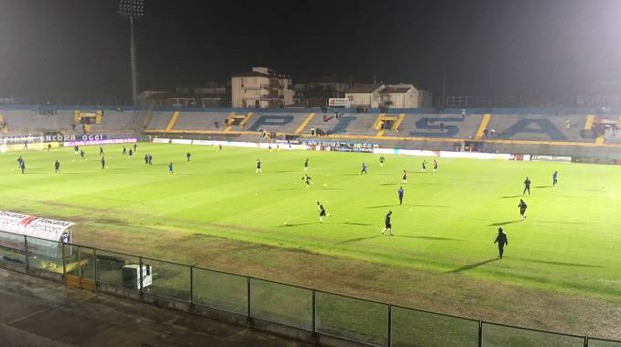Pioggia battente sull'Arena pochi minuti prima di Pisa-Arezzo