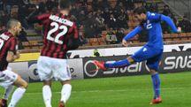 Il gol di Verdi a San Siro (foto Schicchi)