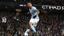 Esultanza Nicolas Otamendi, match winner per il City nel derby di Manchester