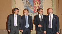 Da sinistra Manca, Delrio, Merola e Bonaccini (Foto Isolapress)