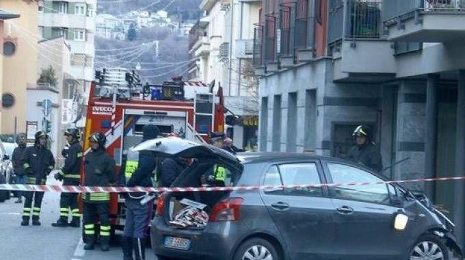 L'incidente in piazza Garibaldi a Sondrio