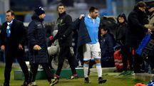 Marco Borriello durante la sostituzione, al 20' del secondo tempo di Spal Verona finita 2-2 (Businesspress)
