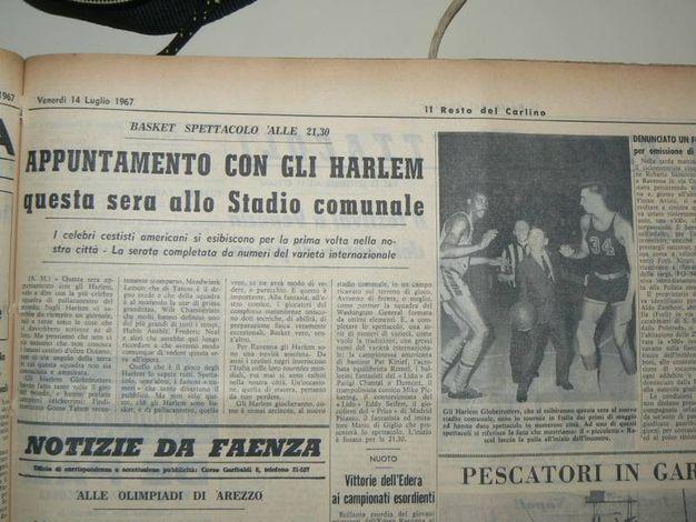 Il Carlino del '67 per l'esibizione degli Harlem Globtrotters