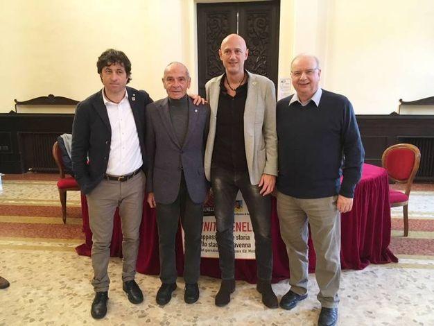 Da sinistra l'assessore Fagnani, Giorgio Bartolini, Roberto Romin e Umberto Suprani