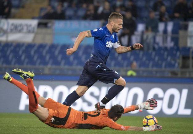 Lazio-Cittadella, il gol dell'1-0 di Ciro Immobile (Ansa)
