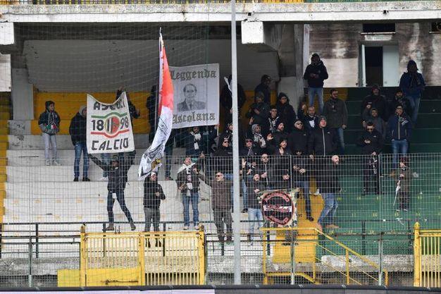 Si gioca al Partenio la sfida tra Avellino ed Ascoli: i tifosi dell'Ascoli (foto LaPresse)