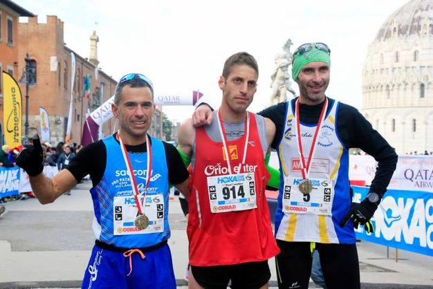 I primi tre alla Maratona di Pisa (foto Teta/Valtriani)