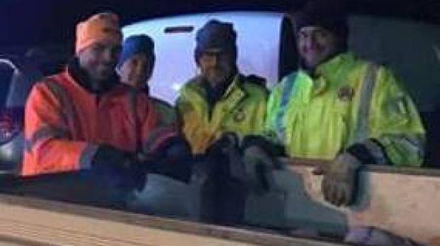 Volontari della protezione civile del Comune di Luni al lavoro per rendere più sicure le strade