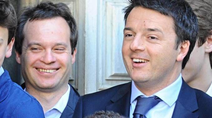 Marco Carri e Matteo Renzi in una foto del 2014 (Ansa)
