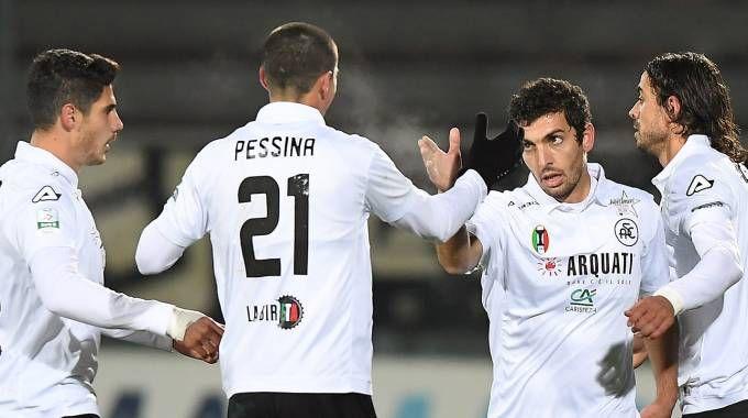 Spezia-Avellino 1-0, i liguri festeggiano (LaPresse)
