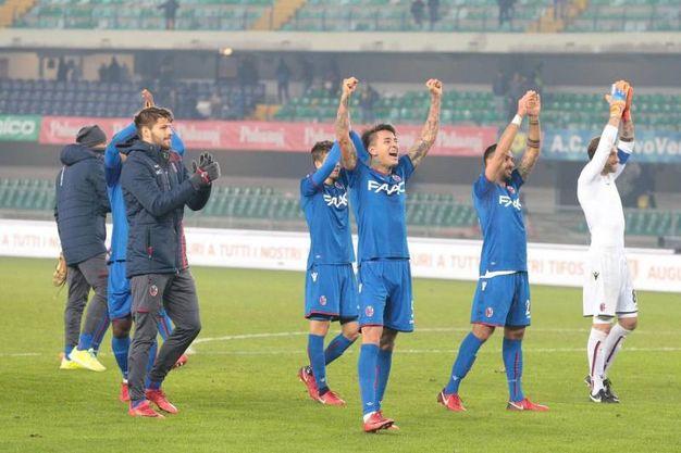 Il Bologna festeggia i tre punti (Ansa)
