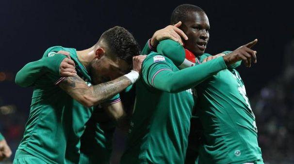 Cagliari-Fiorentina 0-1, l'esultanza dopo il gol di Babacar