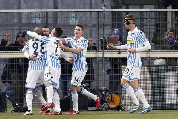 La gioia di Antenucci e compagni per il pareggio contro il Torino (foto Ansa)