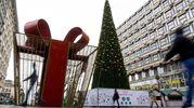 Albero con mega-pacco di Natale a Belgrado (Afp)
