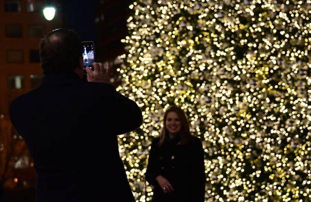 Selfie davanti all'albero di Washington DC (Afp)