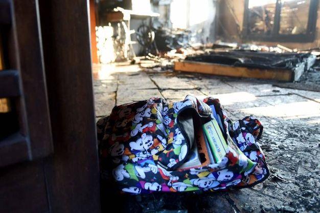 Uno zaino si è salvato dal rogo  (Foto Businesspress)