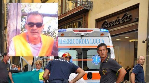 I soccorsi durante l'incidente e, nel riquadro, Eugenio Viviani