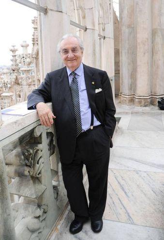 Gualtiero Marchesi sulla terrazza del Duomo di Milano (Newpress)