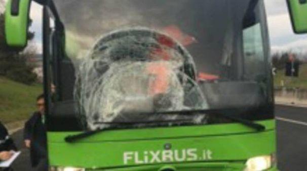 Il pullman della Flexibus coinvolto nell'incidente sull'A14 (foto Zeppilli)