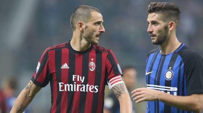 Leonardo Bonucci, Milan, e Roberto Gagliardini, Inter (Newpress)